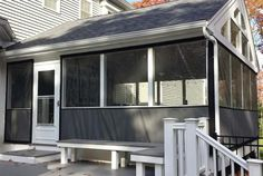 Screen Patio or Porch Affordably with Marine-Quality Mosquito Netting Curtains. Or, Weatherproof Your Patio With Interchangeable Clear Vinyl Winter Panels. Porch Curtains, Porch Windows, Outdoor Curtains, Large Windows, Cheap Gazebo, Screened In Porch Diy, Side Porch, Front Porches, Porch Enclosures