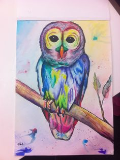 Watercolour owl painted for a friend
