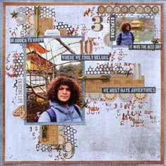 Class created for The Crafty Chain January 2018 - masculine grunge, mixed media, Kaisercraft Documented. Travel Scrapbook, Scrapbook Pages, January 2018, Life Is An Adventure, Layout Inspiration, Outdoor Life, Scrapbooking Layouts, Big Boys, Mini Albums