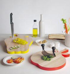 Tábuas para corte em formato de legumes formam a linha Vege-Tables, produzidas pela Seletti