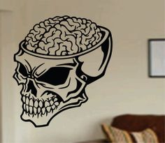 Hey, I found this really awesome Etsy listing at https://www.etsy.com/listing/185125479/zombie-brain-skull-wall-vinyl-decal