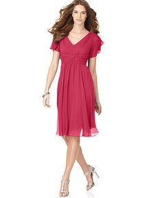 (sleeved chiffon dress at Macy's) Suzi Chin Dress, Flutter Sleeve Chiffon - Womens Bridesmaid Dresses - Macy's Mob Dresses, Cute Dresses, Fashion Dresses, Short Sleeve Dresses, Bridesmaid Dresses, Summer Dresses, Bride Dresses, Peach Dresses, Wedding Dresses