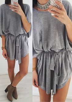 This grey t-shirt dress is crafted with comfort and style in mind. | Lookbook Store