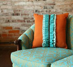 Fun ruffle pillow made from Indygo Junction's Dimensional Denim $19.99