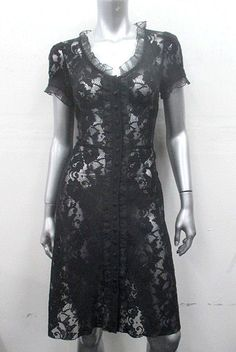 Betsey Johnson Midnight Black Ruffle Trim Floral Lace Tea Short Buttons Sleeve Knee Length Dress 8 (M)