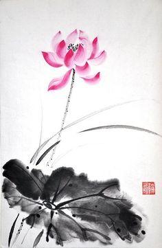 Japanese Ink Painting, Sumi E Painting, Lotus Painting, Chinese Painting, Japanese Art, Lotus Flower Art, Lotus Art, Orchids Painting, Chinese Drawings