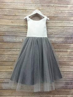Sweet Two Piece Flower Girl Dresses · dressydances · Online Store Powered by Storenvy Grey Flower Girl Dress, Tulle Flower Girl, Tulle Flowers, Gray Dress, Princess Flower, Flower Girls, Kids Pageant Dresses, School Dance Dresses, Girls Dresses