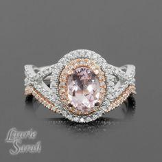 Oval Morganite and Diamond Wedding set with Contoured Band -  LS3041