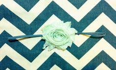 Mint Shabby Chic Flower on Gray Skinny Headband - Baby Shower - Baby Gift - Spring - Girls - Toddler -  Baby - Infant  - Newborn on Etsy, $6.95