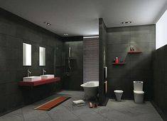 Grey bathroom tiles for modern bathrooms create an elegant and modern bathroom