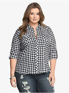 Shop women's plus size tops, shirts, sexy sequin tops & more at Torrid. Find plus size tops from dressy to crops, all fit to flatter curves! Plus Size Shirts, Plus Size Tops, Curvy Fashion, Plus Size Fashion, Plus Size Casual, Gingham Check, Fashion Outfits, Womens Fashion, Girl Fashion