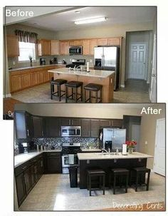 Love The Sleek Dark Chocolate Painted Cabinets! Kitchen Cabinet  Transformations By Rustoleum.
