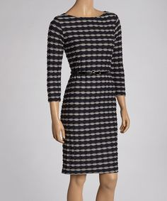 Take a look at this Navy & Taupe Belted Boatneck Dress by Sharagano on #zulily today!
