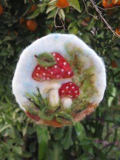 Needle felted tapestry, Mushroom