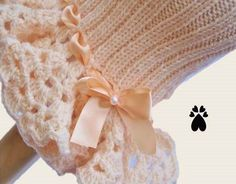 Peaches and Cream hand knitted crocheted dog dress by DaisiesPatch, $45.00