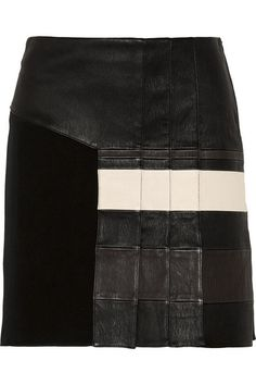 3.1 Phillip Lim pleated stretch-leather and jersey skirt