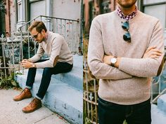 American E Agle Jeans, J.Crew Factory Sweater, Ray Ban Clubmaster, Asos Grandad Watch