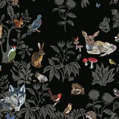 Wallpaper and two sets of wall stickers featuring hand painted forest creatures by Nathalie Lete Kitsch, Art And Illustration, Illustrations, French Inventions, Scenic Wallpaper, Decoration Stickers, Creation Art, Forest Creatures, Contemporary Decor