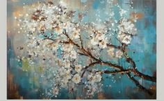 modern abstract, white flower tree, turquois background on canvas
