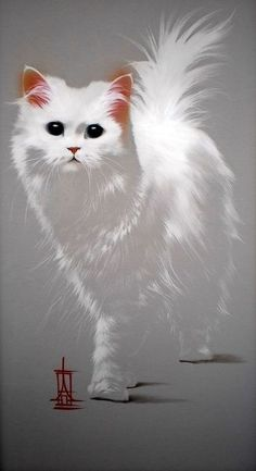 Animal Paintings, Animal Drawings, Pencil Drawings, Animals And Pets, Cute Animals, Watercolor Cat, White Cats, Black Cats, Cat Drawing