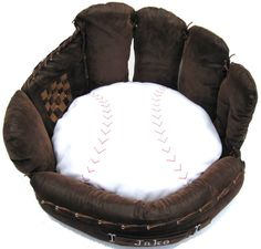 Personalized Baseball Mitt Pet Bed by FastigesMadeWithLove on Etsy Team Gear, Team S, Basement Sports Bar, Handsome Jack, Medium Sized Dogs, Cool Beds, My Best Friend, Hand Sewing, Bean Bag Chair