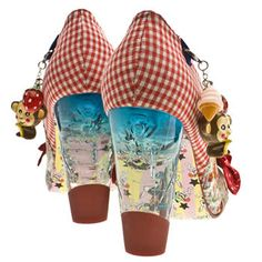 Crazy Oz shoes, complete with illustrated heels. Follow the yellow brick road ...