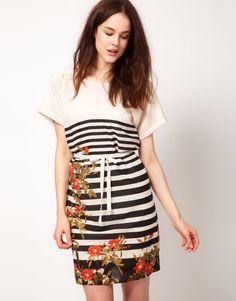 Kookaï/ Floral print & stripes dress.