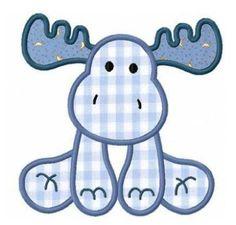 Moose applique machine embroidery design: