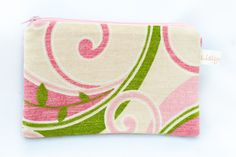 Pink, Green and Cream Zippered Pouch, Small Zippered Pouch, Kitty Pouch by LislynDesigns on Etsy