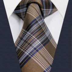 U22 Mens Ties Khaki Checked Pattern Silk Handmade Wedding Fashion Classic Brand New Dress Men's Accessories Necktie