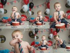 First Birthday Cake Smash - Race Theme.  Boy Black Red and Blue.  Jennifer Nace Photography