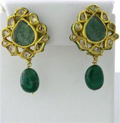 Gold Maharaja Diamond Emerald Enamel Earrings starting bid $800/ July 21 @ hamptonauction.com