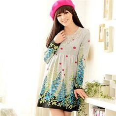 Women Sweet Princess Cherry Leaves Printed Long Wool Blend Dress Red Blue Purple