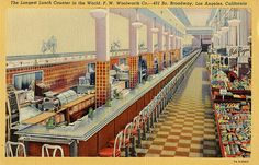 Longest Lunch Counter In World F W Woolworth Broadway Los Angeles CA postcard in United States > California > Other California Art, Los Angeles California, Nyc, Soda Fountain, Downtown Los Angeles, Vintage Postcards, Vintage Ads, Vintage Photos, Vintage Food