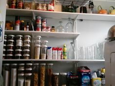 My oddly shaped space in my 100 plus year old building desperately needed organizing and accessible storage. It was time to take a trip to Ikea. Kitchen Shelves, Kitchen Pantry, Kitchen Backsplash, Kitchen Organization, Organization Hacks, Organizing Tips, Basement Stairway, Ikea Algot, Ikea Closet