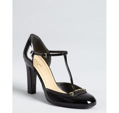 Gucci black patent leather t-strap pumps