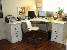 Versatile and efficient pottery barn mudroom furniture : L Shaped Desk And Office Chair In White Color. Also, There Are A Fax Machine, A Telephone, Three Monitors, A Table Lamp And Some Stationaries Organized Orederly