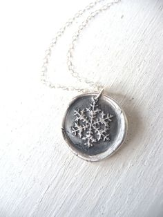 Snowflake Frozen wax seal necklace recycled silver pendant by DreamofaDream on Etsy