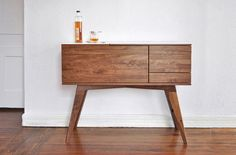 Legs could be more of an open table shape with pegs to secure cabinet. The Sidebar by urbancase — Credenzas/Sideboards -- Better Living Through Design Wood Furniture, Modern Furniture, Furniture Design, Tiny Furniture, Simple Furniture, Furniture Storage, Handmade Furniture, Vintage Furniture, Modern Buffets And Sideboards