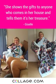 """""""This is my mother in law's reaction with blanket I have bought for her. She cares so much about everyone and family so when she saw all of us in her gifts, she got so happy and said it was such a treasure to have all of her favourite memories just at her hand. Thank you for letting me give her this happiness."""""""