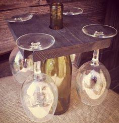 Wine Caddy Wine Glass Holder Ebony 4 Wine Glass Holder Rustic Wine Storage Wine…