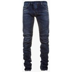 Balmain - Leather-trimmed panelled cotton-denim biker jeans - Men's... ($1,100) ❤ liked on Polyvore featuring men's fashion, men's clothing and men's jeans