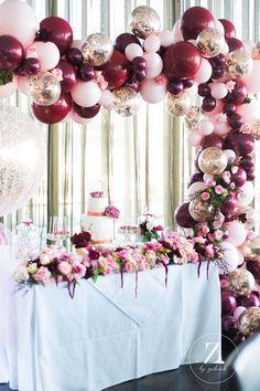 Rose Gold Wedding Shower Ideas a luscious rose gold burgundy pink christening bridal shower ideas pi Gold Party Decorations, Bridal Shower Decorations, Balloon Decorations, Birthday Decorations, Balloon Ideas, Balloon Centerpieces, Burgundy Baby Shower, Deco Ballon, Gold Bridal Showers