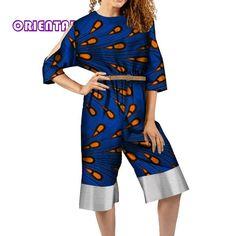 African Jumpsuit for Women Bazin Riche African Print Clothes Long Sleeve Cotton Jumpsuits African Clothing Romper Lady African Jumpsuit, African Dress, African Style, African Clothes, African Print Fashion, African Fashion Dresses, Cotton Jumpsuit, Womens Sleeveless Tops, Jumpsuits For Women