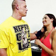 #JohnCena #NikkiBella awww Wwe Couples, Nikki Bella, John Cena, Twins, Wrestling, Mens Tops, T Shirt, Fashion, Lucha Libre