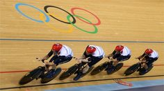 Great Britain post a new world record time during the men's Team Pursuit Track Cycling qualifying on Day 6 of the London 2012 Olympic Games at the Velodrome