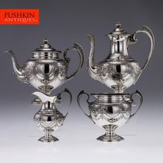 ANTIQUE 19thC VICTORIAN SOLID SILVER 4PS TEA & COFFEE SET, WOODWARD c.1889