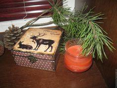 "Купить ""Олени"" - коричневый, шкатулка, шкатулка декупаж, шкатулка для украшений, шкатулка для мелочей, шкатулки, олень"