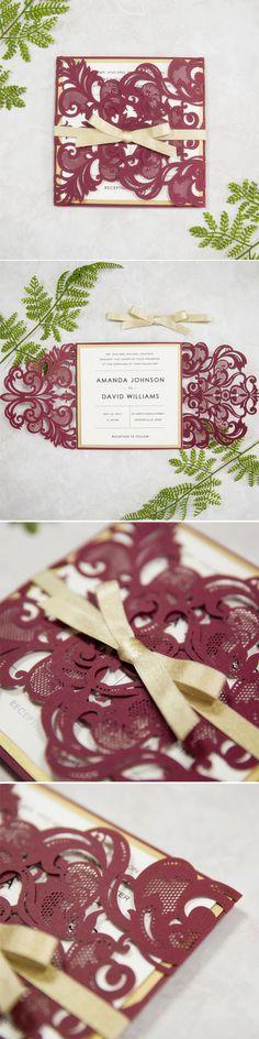 Elegant Burgundy and Gold Laser Cut Wedding Invitations