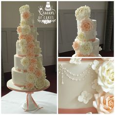 Cascading Peach and Ivory sugar roses wedding cake by Queen of Cakes